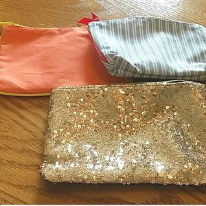 Ipsy Gold sequin, coral, and gray makeup bags